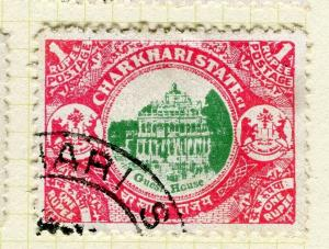 INDIA; CHARKHARI 1931 early pictorial issue fine used 1R. value