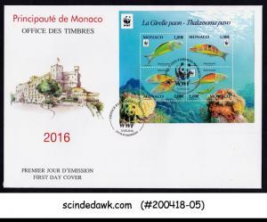 MONACO - 2016 ORNATE WARASSE / FISH MARINE LIFE - M/S - FDC