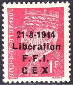 FRANCE 437 GEX LIBERATION OVERPRINT OG NH U/M XF BEAUTIFUL GUM