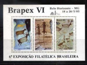 BRASIL BRAZIL 1985 ART PREHISTORIC FAUNA DRAWINGS BRAPEX VI S/S YV BL 66 MI 67