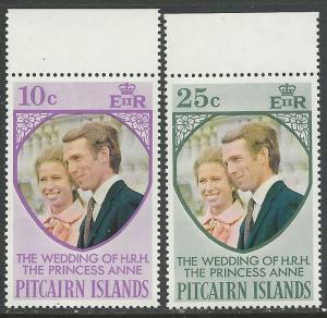 Pitcairn Islands # 135-36 Princess Anne Wedding (2) Mint NH