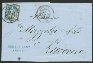 SWIZERLAND 1865 folded entire - 10c ex VEVEY to Luzerne....................61854