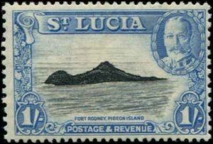 St Lucia SC# 103 Fort Rodney 1shilling MVLH with mount