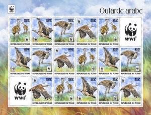 Chad - 2017 Arabian Bustard & WWF - 16 Stamp Sheet - TCH17324d