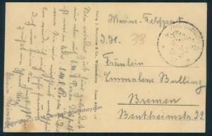Germany WWI Navy Feldpost MSP38 SMS von der Tann Cover 52948