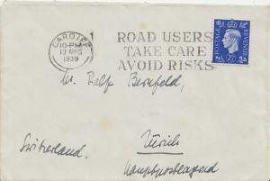 Great Britain 2 1/2d KGVI 1939 Cardiff to Zurich, Switzerland.  Light spotting.