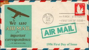 AO-UC25-2, 1956, Air Mail,  Add-on Cover, New York NY, First Day Cover, SC UC25,