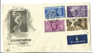 1948 LONDON OLYMPICS, FIRST DAY COVER  WITH OLYMPIC RING CANCEL WEMBLEY CDS