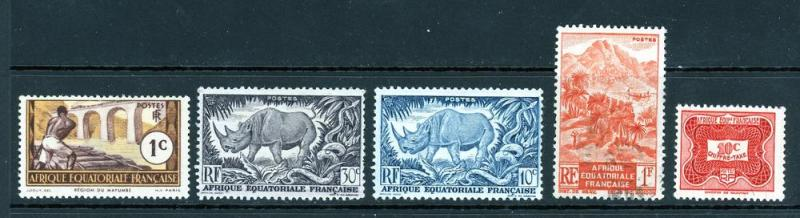 French Equatorial Africa Lot 5 Stamps Mixed
