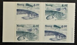 Norway 1215-16. 1999 Fish, booklet pane of four, NH