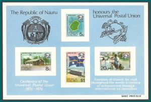 Nauru 1974 UPU Centenary, MS, MNH  #117a,SGMS126