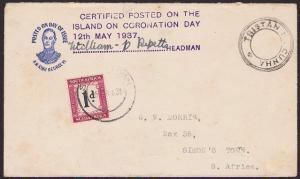 TRISTAN DA CUNHA 1937 Coronation Day postage due cover signed Wm Repetto...67570
