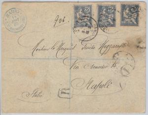 FRANCE -  POSTAL HISTORY -  PERFIN STAMPS on  COVER  to  ITALY  1903