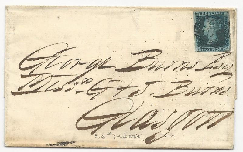 GREAT BRITAIN Scott #4 on Cover 1848 Glascow Liverpool