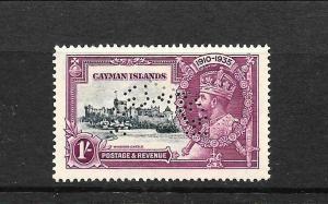 CAYMAN ISLANDS 1935  1/- SILVER JUBILEE    MNG  PERF SPECIMEN    SG 111s