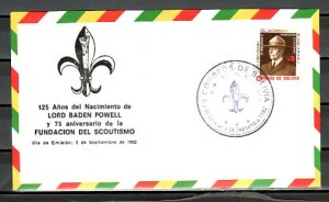 Bolivia, Scott cat. 683. 75th Anniversary of Scouting. First day cover. ^