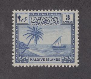 Maldive Islands Sc 21 MNH. 1950 3l deep blue Palm & Dhow, F-VF