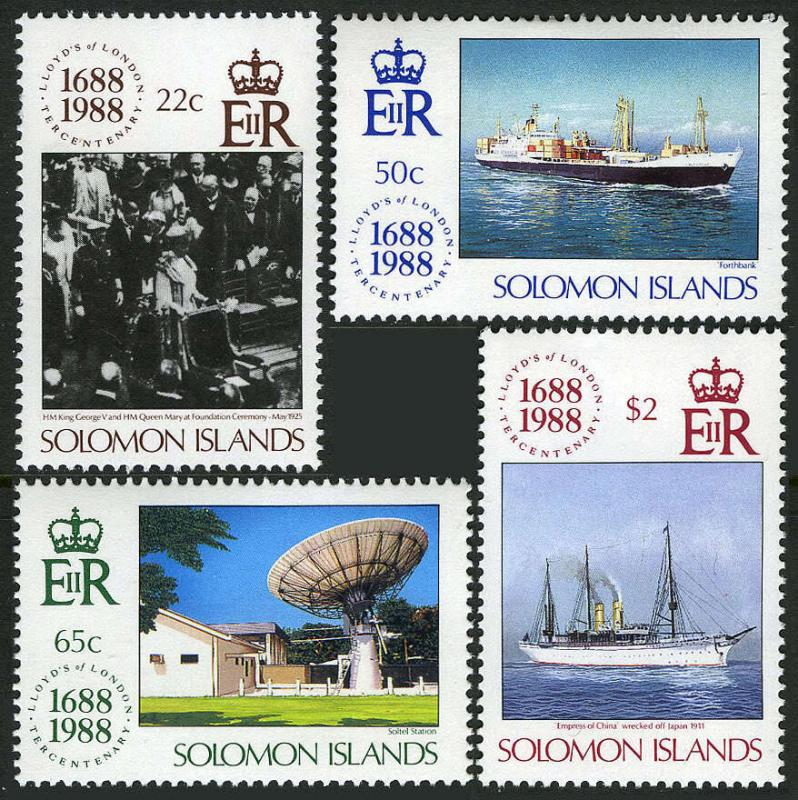 Solomon Islands 627-630,MI 692-695,MNH.Lloyds of London, 300th ann.Ships,1988