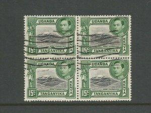 Kenya, Uganda & Tanganyika 1938 15c Black & Green Block of 4 Used SG 138