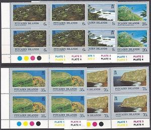 PITCAIRN 1981 Scenic Views set plate blocks of 4 MNH........................3492