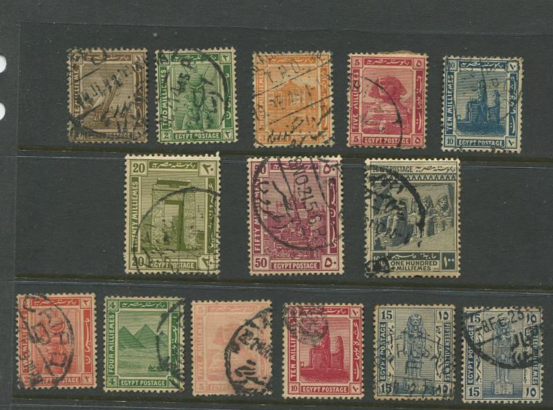 Egypt - Scott 61-74 - Definitive Issue -1921 - Used - Set of 14 Stamps