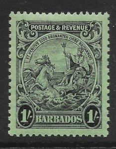 BARBADOS SG237a 1932 1/= BLACK ON EMERALD p13x12 MTD MINT