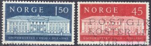 NORWAY SC# 395+396 *USED* 45o+1.50k  1961  SEE SCAN