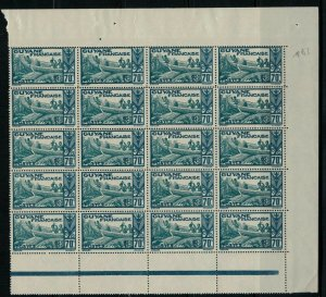 French Guiana #128* NH Block of 20 CV $26.00 scarce multiple
