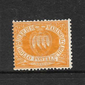 SAN MARINO  1877-99  5c ORANGE  ARMS  MNG  Sc 4