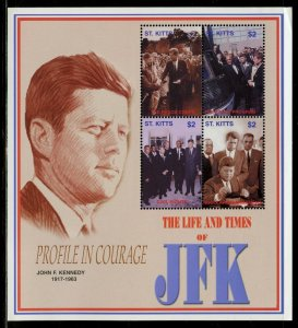 ST. KITTS THE LIFE & TIMES OF JOHN F. KENNEDY  SHEET I  MINT NEVER  HINGED