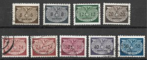 Doyle's_Stamps: Used Polish German-Occup Officials Set, Scott #NO16 to #NO24