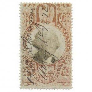 1872 R146 $2.50 Third Issue, Internal Revenue Stamp, Washington, Claret & Black