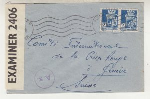 ALGERIA, 1943 Censored cover to Red, Cross, Geneva, Switzerland.