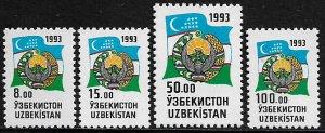 Uzbekistan #30-4 MNH Set - Flag and Coat of Arms