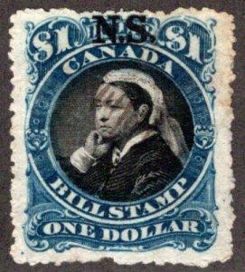 van Dam NSB16a - Nova Scotia Bill Stamp - $1- p 12.5 (rough), Used