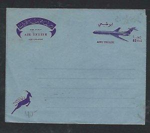 ABU DHABI  COVER(P0812B)  AIRPLANE  40 FILS BLUE  AEROGRAM UNUSED