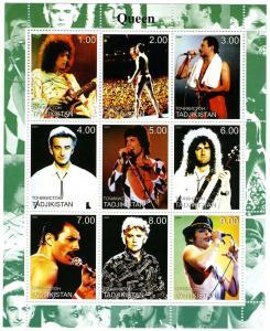 Tadjikistan 2000 QUEEN FREDDIE MERCURY Sheet (9) Perforated Mint (NH)