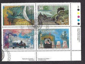 CANADA EXPLORATIONS #1 PLATE BLOCK SCOTT 1107a VF USED (BS15595)
