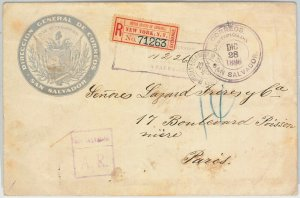 51083 -  EL SALVADOR -  POSTAL HISTORY - REGISTERED COVER: OFFICICIAL MAIL 1896