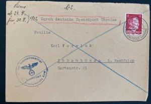 1942 Kiev Ukraine Germany Diesntpost cover To Ibbenburen