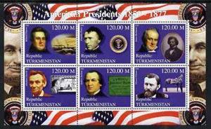 Turkmenistan 2000 US Presidents #04 perf sheet of 6 unmou...
