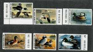 Minnesota Sc#11-16 M/NH/VF, State Duck Stamps, Cv. $78