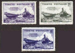 Turkey #940-42 ship Missouri MNH