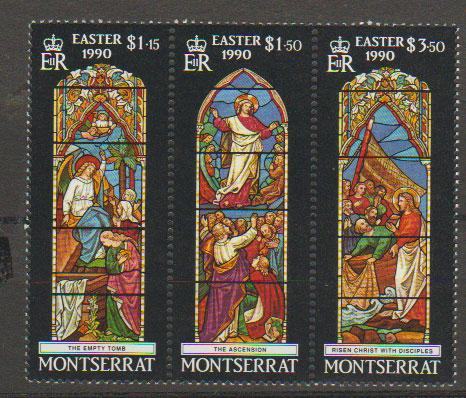 Montserrat SG 814a se-tenant by 3  MLH -  Easter