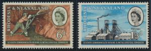 Rhodesia & Nyasaland SG 38/39 Sc# 178/79  MNH see details Mining Congress