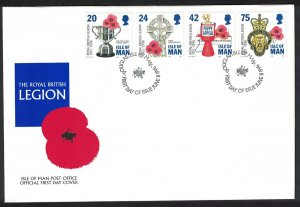 Isle of Man 75th Anniversary of Royal British Legion FDC SG#708-711
