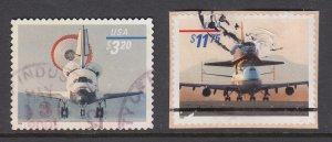 US Sc 3261-3262 used. 1998 $3.20 Priority, $11.75 Express Mail Space Shuttle, F