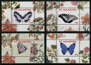 HERRICKSTAMP NEW ISSUES ST. MARTIN Sc.# 103-06 Butterflies 2016 S/S IX - XII