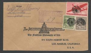 DATE 1943 COVER PREXIES 7c + 8c + C25 6c AIR MAIL = 21c RATE ON  SEE INFO