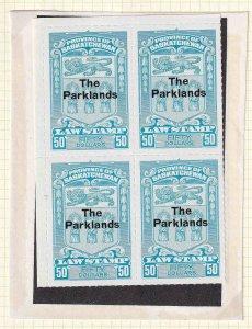 CANADA VD SL78 BLOCK OF 4 THE PARKLANDS OVERPRINT OG NH U/M VF C$200 VDCV